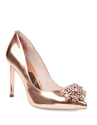 Ted Baker Peetch Broach Embellished Leather Pumps Rose Gold