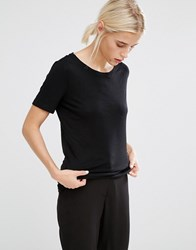 Monki Scoop Neck Tee 09 090 Black