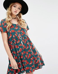 Glamorous Smock Dress With Sparse Floral Print Multi