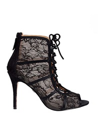 Badgley Mischka Sherry Satin Lace Booties Black