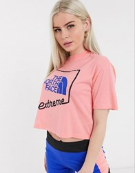 The North Face Extreme Cropped T Shirt In Pink Blue