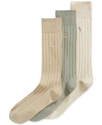 Polo Ralph Lauren Three Pack Crew Socks Khaki Olive Tan