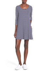Junior Women's Socialite T Shirt Dress Navy Ivory
