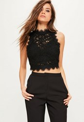 Missguided Black Cornelli Lace Sleeveless Crop Top