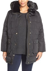 Plus Size Women's Michael Michael Kors Quilted Down And Feather Fill Parka With Faux Fur Trim Black