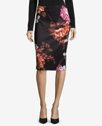 Eci Printed Pull On Pencil Skirt Black Orange