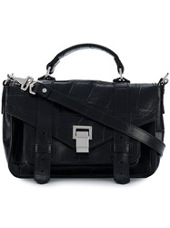 Proenza Schouler Embossed Crocodile Ps1 Tiny Bag Black