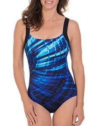 Reebok Lazer Focus One Piece Swimsuit Blue