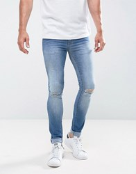 Loyalty And Faith Siret Super Skinny Jeans With Ripped Knees In Light Wash Blue