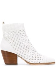 Michael Michael Kors Pointed Cowboy Ankle Boots White