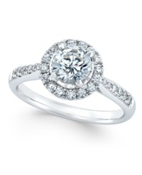 Macy's Diamond Halo Engagement Ring 7 8 Ct. T.W. In 14K White Gold