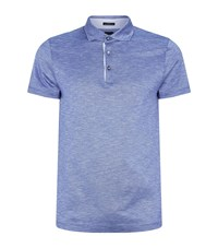 Boss Cotton Linen Polo Top Blue