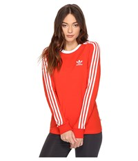 Adidas 3 Stripes Long Sleeve Tee Core Red Women's Long Sleeve Pullover