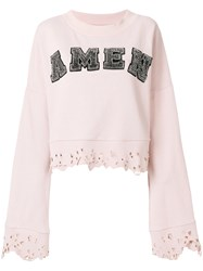 Amen Studded Logo Sweatshirt With Distressed Edges Pink And Purple
