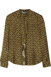 Belstaff Rayne Printed Silk Satin Blouse Green