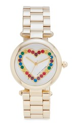 Marc Jacobs Dotty Heart Glitz Watch Gold Silver Multi
