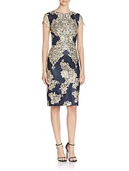 Theia Lace Embellished Sheath Dress Navy Gold