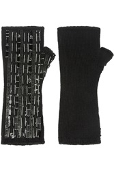 Dolce And Gabbana Embellished Cashmere Fingerless Gloves