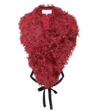 Helmut Lang Dahlia Shearling Collar Red