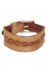 John Varvatos Canvas And Leather Cuff Bracelet Brown