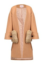 Jolie Moi Faux Fur Pockets Quilted Inner Coat Camel