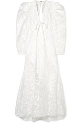 Rosie Assoulin Mary Had A Little Lamb Flocked Cotton Blend Chiffon Dress White