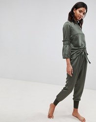 Ted Baker Says Relax Paper Bag High Waist Trousers Green