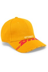 Vetements Embroidered Cotton Twill Baseball Cap Yellow Gbp