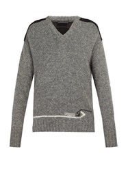 Prada Contrast Panel Wool Sweater Grey Multi