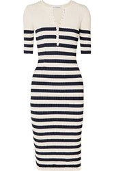 Altuzarra Sunday Striped Ribbed Stretch Knit Midi Dress Navy