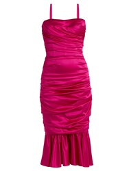 Dolce And Gabbana Ruched Stretch Silk Dress Pink