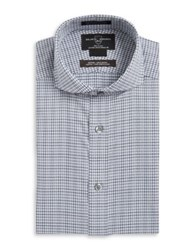 Black Brown Plaid Cotton Dress Shirt Grey