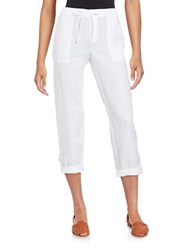 Lord And Taylor Roll Up Linen Pants White