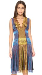 M Missoni Knit Fringe Dress Blue
