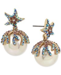 Betsey Johnson Gold Tone Colored Pave And Imitation Pearl Starfish Drop Earrings Multi