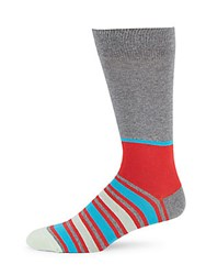 Saks Fifth Avenue Made In Italy Striped Cotton Blend Socks Red