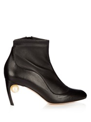 Nicholas Kirkwood Maeva Pearl Embellished Leather Ankle Boots Black