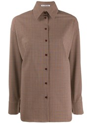 Acne Studios Oversized Check Shirt Brown