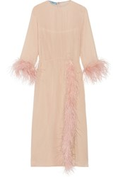 Prada Feather Trimmed Silk Georgette Midi Dress Blush