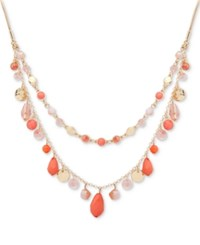 Nine West Gold Tone Colored Stone And Bead 18 Double Layer Necklace Pink