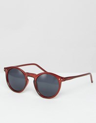Asos Round Sunglasses In Burgundy Burgundy Red