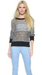 Tess Giberson Crochet Mesh Sweater Black White