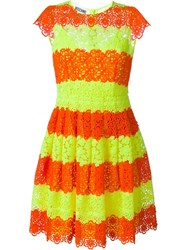 Moschino Striped Lace Dress Yellow And Orange