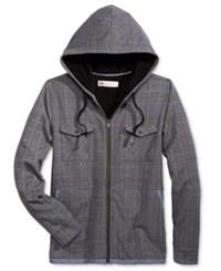 Levi's Men's Macola Houndstooth Plaid Hooded Sweatshirt With Faux Sherpa Lining Castlerock
