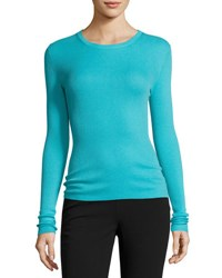 Michael Kors Cashmere Long Sleeve Crewneck Sweater Blue
