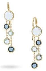 Marco Bicego Mixed Stone 2 Strand Earrings Yellow Gold Blue Topaz