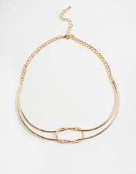Paper Dolls Knot Double Row Torque Necklace Gold