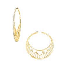 Swarovski Georgette Crystal And 23K Gold Plated Circle Earrings