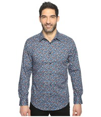 Perry Ellis Long Sleeve Abstract Floral Print Shirt Blue Wing Teal Men's Clothing Red