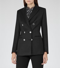 Reiss Tahlia Womens Double Breasted Blazer In Black